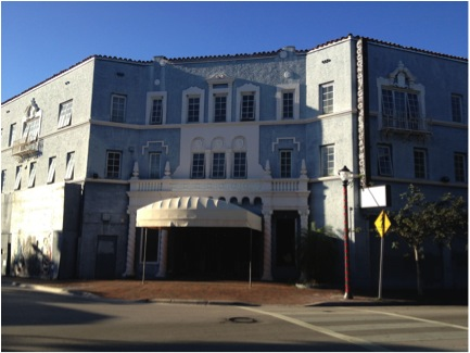 Photograph of the Coconut Grove Playhouse, where Tennessee Williams staged A Streetcar Named Desire in 1956. Photograph circa 2013 by Lara Stein Pardo.