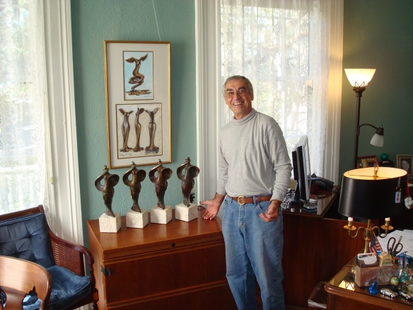 "Enzo Torcoletti with his most recent ""La Florida"" sculptures. Photo taken and used by permission of Tim Storhoff."