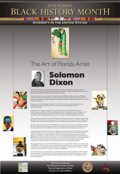 Solomon Dixon was chosen as the featured Florida artist for Black History Month 2013.