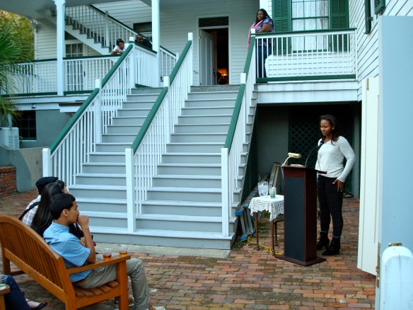 The poetry-filled weekend began at the historic Knott House Museum on Friday night, where students were able to introduce themselves and share some of their own poetry.