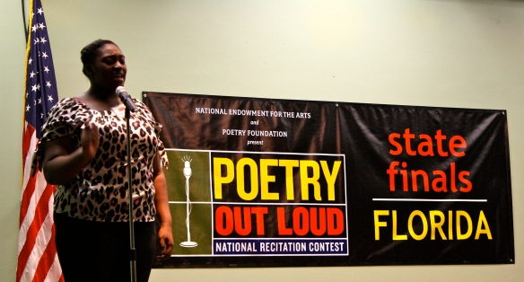 The 2013 Poetry Out Loud Florida State Finals champion Kourtney Brooker, reciting her poem during the final round.