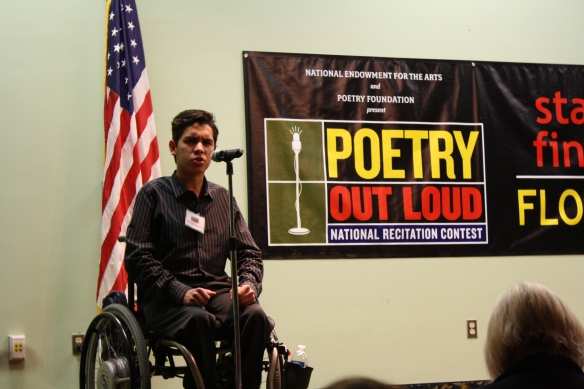 "Second place winner Ricky Vega-Bossa from Western High School in Broward County recited ""The Charge of the Light Brigade"" by Alfred Lord Tennyson during the final round."
