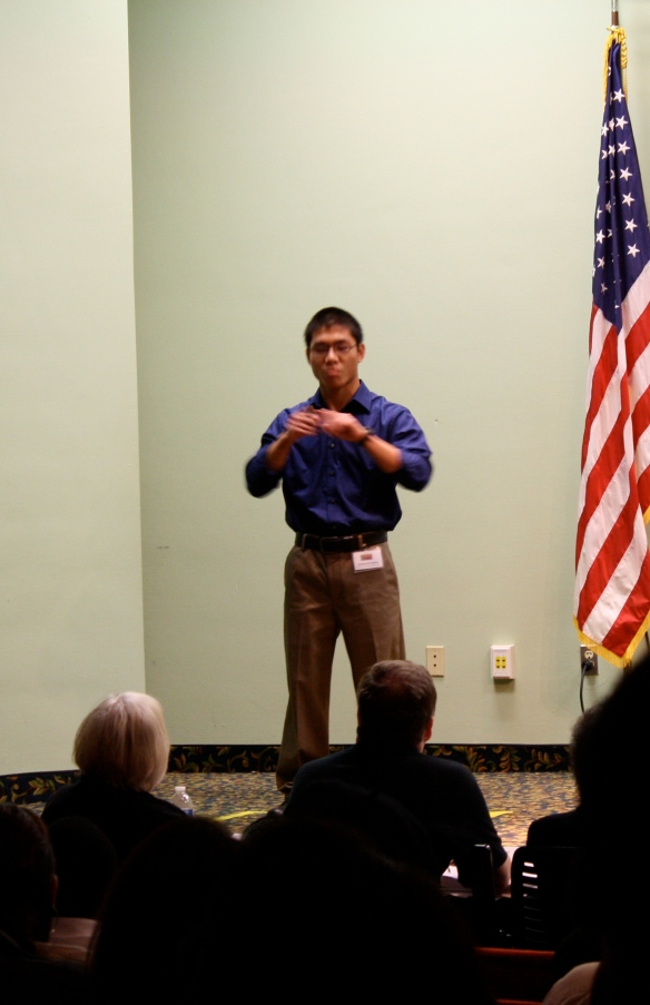 Seth Snow, who won the competition at the Florida School for the Deaf and the Blind in St. Augustine,  advanced to the second round and used ASL to share his poems.