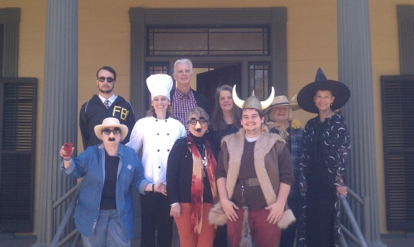 Florida Division of Cultural Affairs staff members in front of the Brokaw-McDougall House on Halloween.
