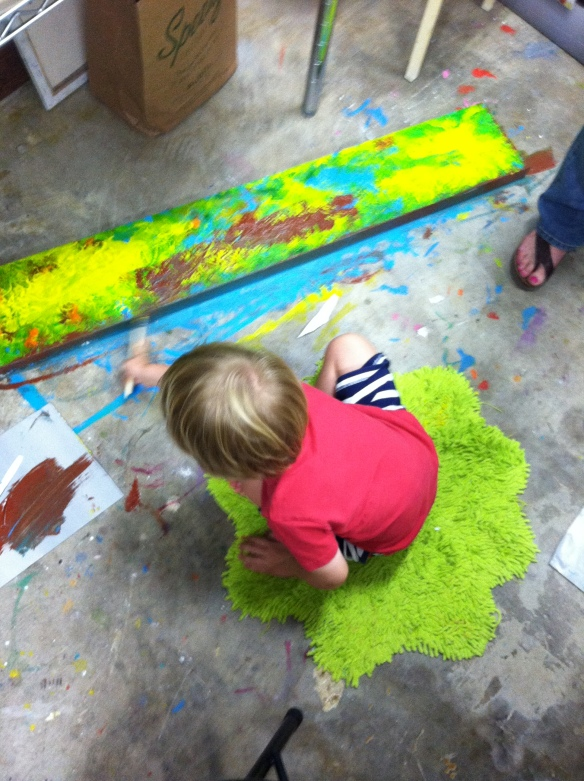 A student working on a painting at the Starry Night Studio. Photo submitted and used with permission of Kathleen Carter.