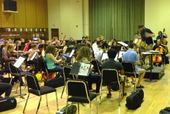 The Tallahassee Composers Orchestra rehearsing the Concerto for Tenor Pan in C. Photo by Bryan McNamara.