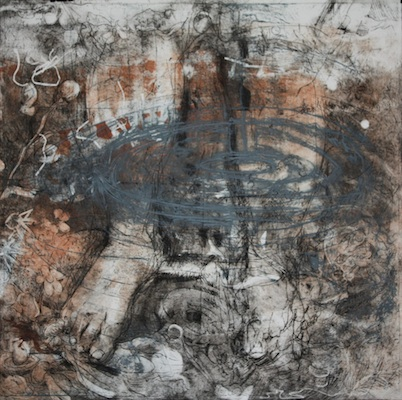 """Whirlpool Feet"" etching with collograph by Sarah Crooks Flaire, 22""x22"""