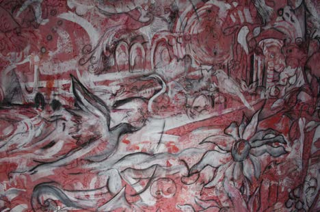 """Red Pearl River"" by Sarah Crooks Flaire, charcoal and gesso on cotton with waterbased dye and handsewing cotton thread."