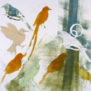 """Trailwalker State Bird Series"" by Sarah Crooks Flaire, 22""x22"" etching with unique inking on paper, chine colle' with recycled pallet frame hand made by Olivier Flaire"