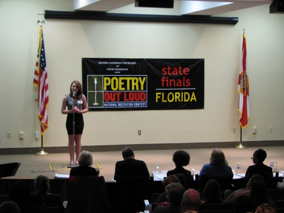 "All students recited a poem in the first and second round. Cassidy Camp of Coral Shores High School in Monroe County presented ""Baudelaire"" By Delmore Schwartz in the first round."