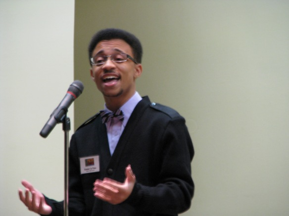 """Students read poems on multiple themes and from various countries and parts of history. In the first round Kamarr Le'Vere of Wekiva High School recited """"April Love"""" by Ernest Dowson, who lived from 1867 to 1900."""