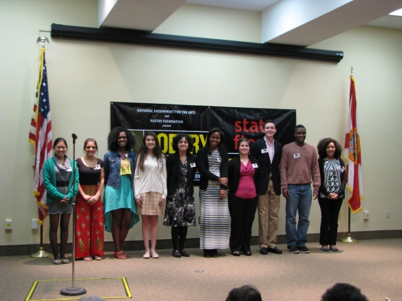 After the first two rounds, ten students were selected to read a third poem in the final round.