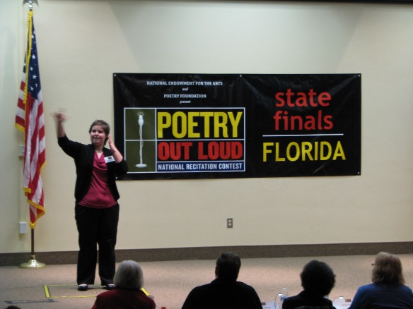 "In the third round, Savannah McCord from the Florida School for the Deaf and Blind presented William Blake's ""A Poison Tree"" in ASL."
