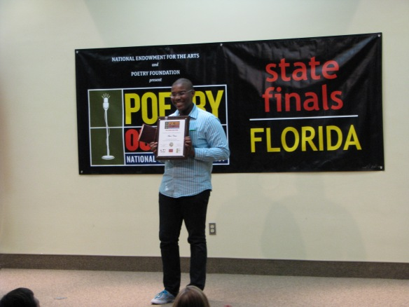 This year a new award was added to the state finals, and the Muse Award was given to David Luciemable of North Fort Myers High School. This award was given to the student whose passion and engagement with poetry stood out during their recitation. The decision was made by Division of Cultural Affairs Director Sandy Shaughnessy in consultation with her staff.