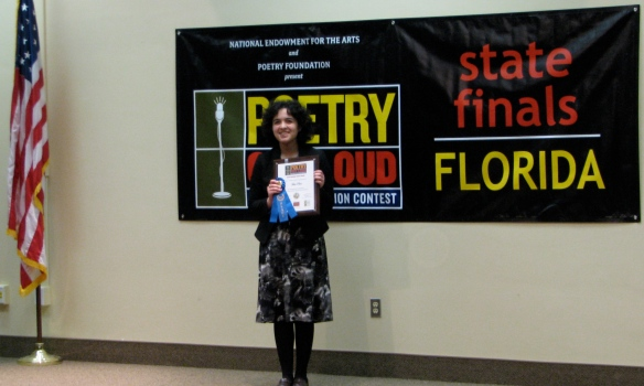 First place was awarded to Emily Rodriguez, a senior at Academy of the Holy Names in Hillsborough County. Rodriguez will receive an all-expenses-paid trip to Washington, D.C. to compete for a total of $50,000 in awards, scholarships and school stipends. The National Finals will be held April 28 – 30. In addition, Rodriguez will receive a $200 cash prize, and Academy of the Holy Names will receive $500 for the purchase of poetry books.