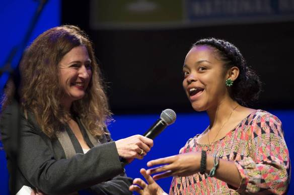 National Champion Anita Norman interviewed by Neda Ulaby from National Public Radio. Photo by James Kegley, used with permission of the National Endowment for the Arts.
